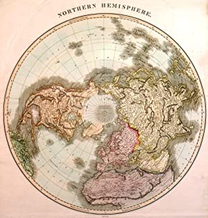 NORTHERN HEMISPHERE  and  SOUTHERN HEMISPHERE . Double hemisphere world map on polar projections...