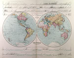 THE WORLD IN HEMISPHERES . The map has above and below the image, the following: Section along t...