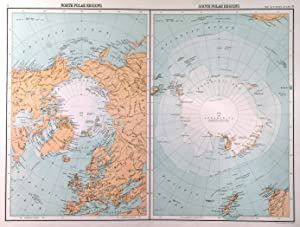 NORTH POLAR REGIONS  and  SOUTH POLAR REGIONS . Two maps on one sheet. For Citizen s Atlas desig...