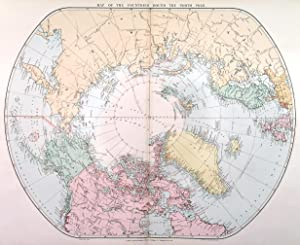 MAP OF THE COUNTRIES ROUND THE NORTH POLE . Showing the names of over 100 explorers (Beechey, Na...