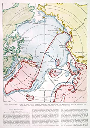 ?POLAR EXPLORATION: CHART OF THE ARCTIC REGIONS, SHOWING THE ROUTES OF THE EXPEDITIONS NOW IN PRO...