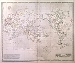 """CHART OF THE WORLD ON MERCATORS PROJECTION"". Showing the direction of the Ocean Currents with th..."