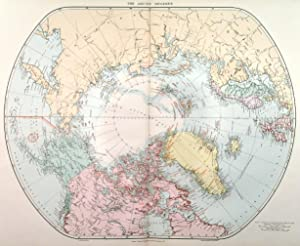 THE ARCTIC REGIONS . Map of the North Pole and down to 50° latitude, showing in red the stages v...