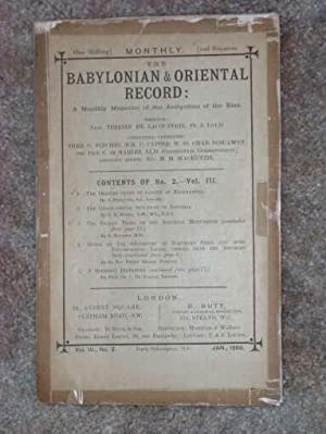 The Babylonian & Oriental Record: A Monthly Magazine of the Antiquities of the East Vol II No. 1 ...