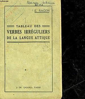 Tableau Des Verbes Irreguliers De La Langue Attique By Ragon E Bon Couverture Souple 1934 Le Livre
