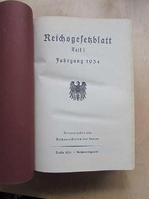 Reichsgesetzblatt Teil I - Jahrgang 1934: Reichsminister des Innern: