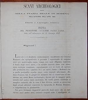 Scavi archeologici fatti nella piazza reale di Modena nell'autunno dell'anno 1865. Diario e...