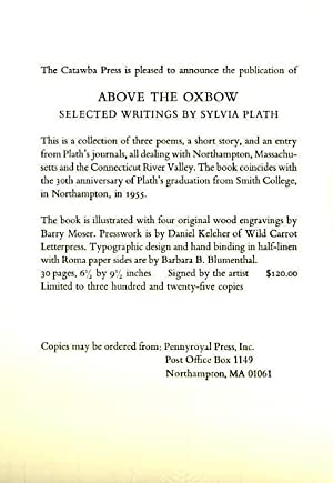 Above the Oxbow (Prospectus only): Plath, Sylvia