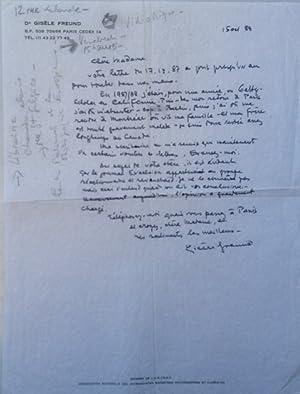 Eigenhändiger Brief vom 15. Oct. 1989 an eine unbenannte Madame (in 20 Zeilen), der Text in ...