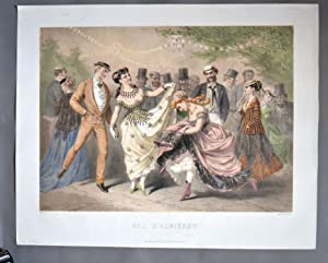 BAL D' ASNIÈRES .- LE CHATEÂU ROUGE ( 2 Gravures ) (danse ) (second Empire )