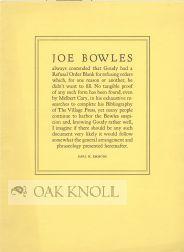 JOE BOWLES ALWAYS CONTENDED THAT GOUDY HAD: Emmons, Earl H.