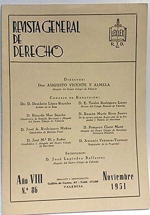 Revista General De Derecho Nº 86. Nov. 1951: Vicente Y Almela, Augusto