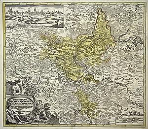 """Kupferstich- Karte, b. J. C. Homann, """"Saxonia Tractus Ducatum Magdeburgensem ."""".: Magdeburg..."""