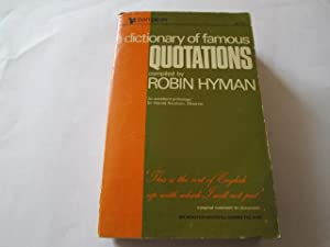 A dictionary of famous quotations (Pan piper books): Hyman, Robin