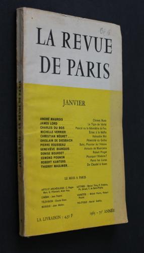 Image du vendeur pour La revue de Paris, janvier 1963 (70e année) mis en vente par Abraxas-libris