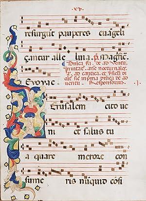 Large illuminated leaf from an Antiphonal centred: JERUSALEM] CORTESE, Christopher