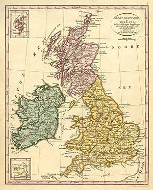 Groot Brittanje en Ierland Grenz- und flächenkolorierter Original-Kupferstich nach Arrowsmith bei F...