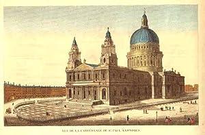 LONDON: Vue de la Cathédrale de St Paul à Londres Original-Kupferstich bei Basset, um 1780, ...