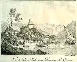 Tour du Port d'Ouchi sous Lausanne lac de Genève Original-Kreidelithographie von G. F. ...