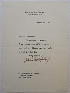 "Typed Letter Signed on ""Rockefeller Center"" stationery"