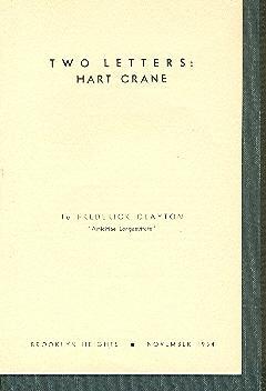 Two Letters: Hart Crane.: Crane, Hart (1899-1932).