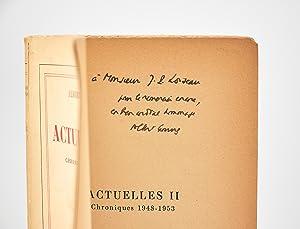 Actuelles II, chroniques 1948-1953: CAMUS Albert
