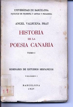 Historia de la Poesia Canaria, Tomo I.: Valbuena Prat, Angel: