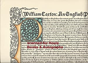 William Caxton: An English Printer