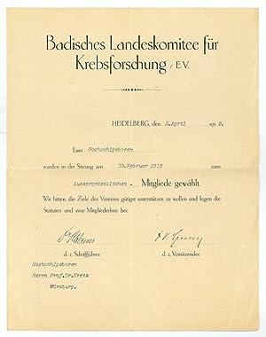 Ms. Schriftstück mit eigenh. U.: Czerny, Vinzenz von,