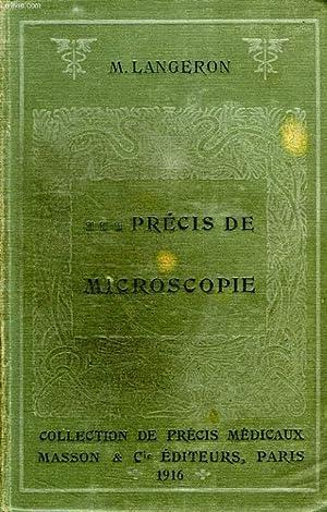 PRECIS DE MICROSCOPIE, TECHNIQUE, EXPERIMENTATION, DIAGNOSTIC: LANGERON Dr M.