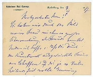 """Eigenh. Briefkarte mit U. ( Dr. Czerny"""").: Czerny, Vinzenz von,"""