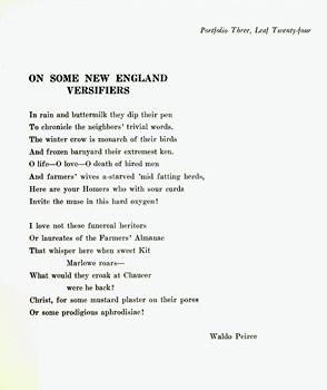 On Some New England Versifiers. Portfolio Three,: Peirce, Waldo.