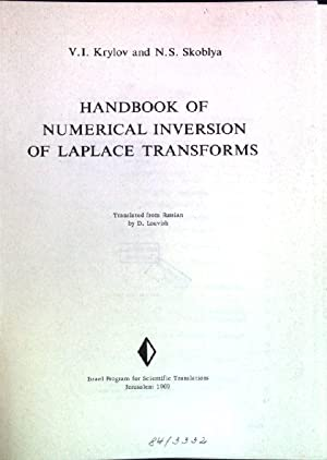 Handbook of numerical inversion of Laplace transforms: Krylov, V.I. and