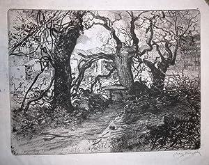 """1 Originalradierung, """"Karfreitag 1918"""". Eigenhändig mit Bleistift: Michalek, Ludwig (1859-1942)"""