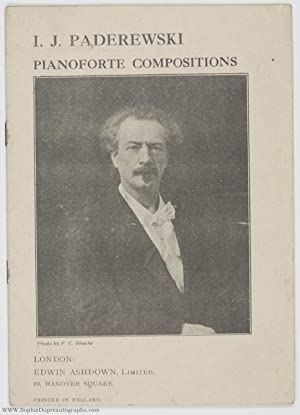 Booklet advertising his 'Piano Compositions', (Ignace Jan, 1860-1941, Polish Pianist and Composer...