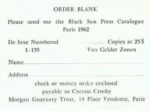 Order Blanks for Black Sun Press Catalogue,: Black Sun Press;