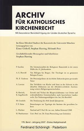 Archiv für Katholisches Kirchenrecht. 176. Band - Jahrgang 2007.: Haering, Stephan (Hrsg.):