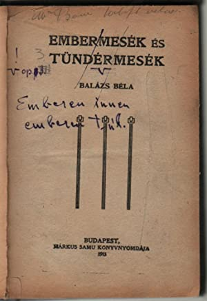 [Printed, and Crossed in ink:] Embermesék és tündérmesék. [In Handwriting:] Emberen innen emberen...