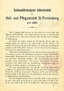 Heil- und Pflegeanstalt St. Pirminsberg. Jahresbericht der Heil- und Pflegeanstalt St. Pirminsberg ...