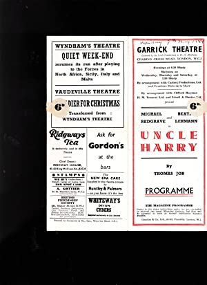 """PROGRAMME. """"Uncle Harry"""" by Thomas Job. May 1944. Garrick Theatre, London"""