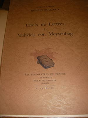 CHOIX DE LETTRES A MALWIDA VON MEYSENBUG - PREMIER CAHIER: ROMAIN ROLLAND