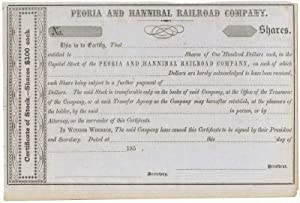 Certificate of Stock. Peoria and Hannibal Railroad: PEORIA AND HANNIBAL