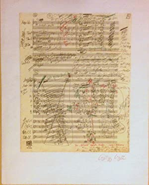 Signed facsimile page of the manuscript score of Requiem