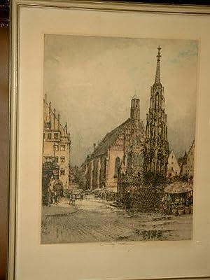 Nürnberg: Der schöne Brunnen in Nürnberg. Farbradierung.: Kasimir, Luigi ( *1881 - 1962 )