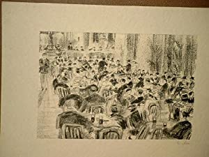 Kaffeehausszene im Freien an der Alster. Signierte Lithographie um 1920. ( = Blatt 10 der Folge *...