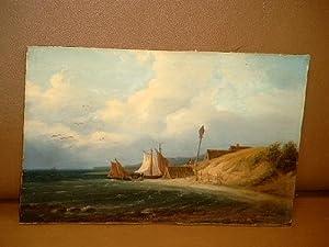 Holländische Küstenlandschaft mit Fischerbooten. Ölgemälde.: Hilverdink, Johannes