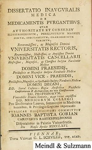 Dissertatio inauguralis medica De Medicamentis Purgantibus .: Gorian, Johann Baptist.