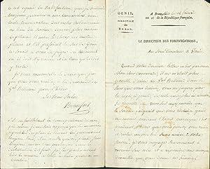 Eigenhändiger Brief mit Unterschrift an den Unterdirektor in Gent (den Chef de Bataillon Garbé).: ...