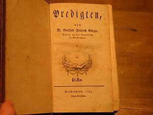 Predigten.: GROSSENHAIN.- BÜRGER, Gotthold Friedrich: