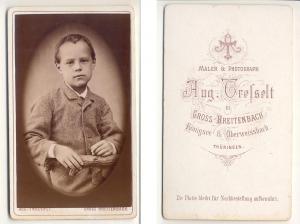 CDV Carte de Visite Foto Porträt Knabe: Tresselt, August Maler